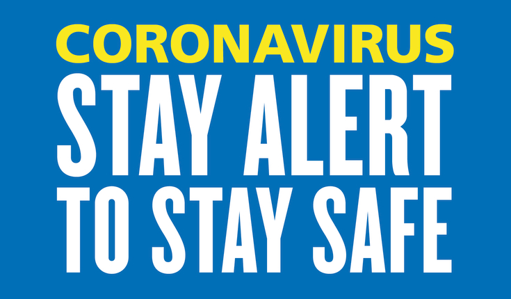 Coronaviurs poster saying stay alert to stay safe